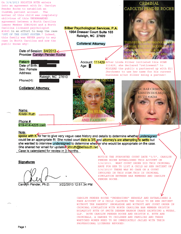 Kristin Ruth and Carolyn Pender Roche initiate an ILLEGAL patient account! CRIMINALS!