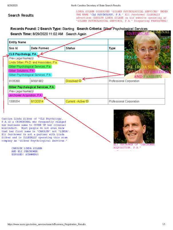 Carolyn Linda Silber of Silber Psychological Services EXPOSED!
