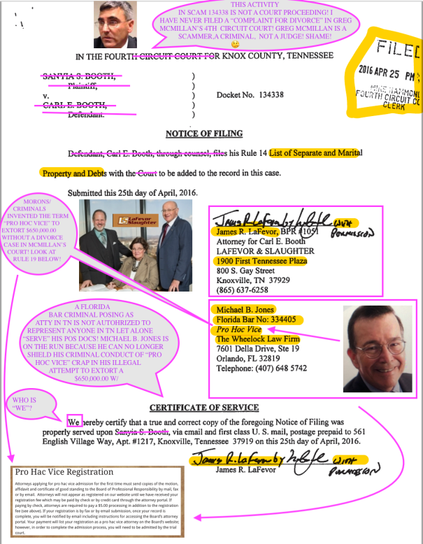 LAW OFFICES OF LA FEVOR AND SLAUGHTER EXPOSED IN COURT CORRUPTION KNOX COUNTY TENNESSEE