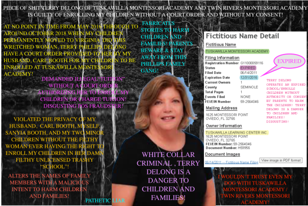 Terry Phillips Delong AKA Terry Delong of Tuskawilla Montessori Academy and Twin Rivers Montessori Academy is a DANGER to children and families! I WOULD NOT TRUST HER WITH MY DOG, LET ALONE WITH MY CHILDREN! Terry Delong fabricates stories, alters parents names to aid and abet other CRIMINALS in her network harm children and families! Seminole County, FLORIDA is the CRIME HUB and extremely dangerous for families! BEWARE and DOCUMENT EVERYTHING! Terry Delong is a WHITE COLLAR CRIMINAL! The family run business enrolls children WITHOUT parental consent, WITHOUT court orders, and WITHOUT being licensed! DISGUSTING MORONS!