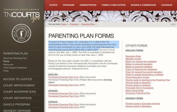 Tennessee Court Rules Permanent Parenting Plan Must Be Entered with Final Divorce Decree