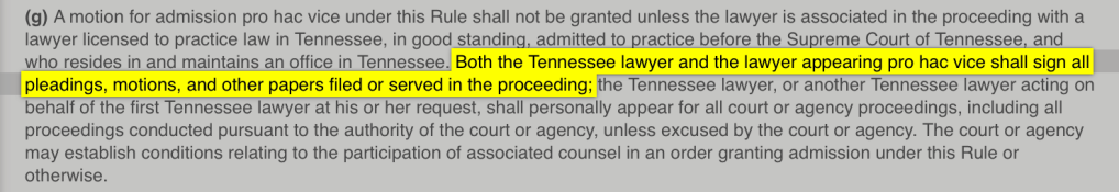 Tennessee Board of Professional Responsibility, Attorney Discipline Agency, Tennessee Supreme Court, Wheelock Law Firm, LLC, Orlando, Florida, Rules of Professional Responsibility